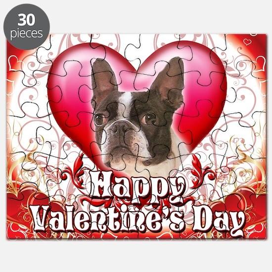 Happy Valentines Day Boston Terrier Puzzle