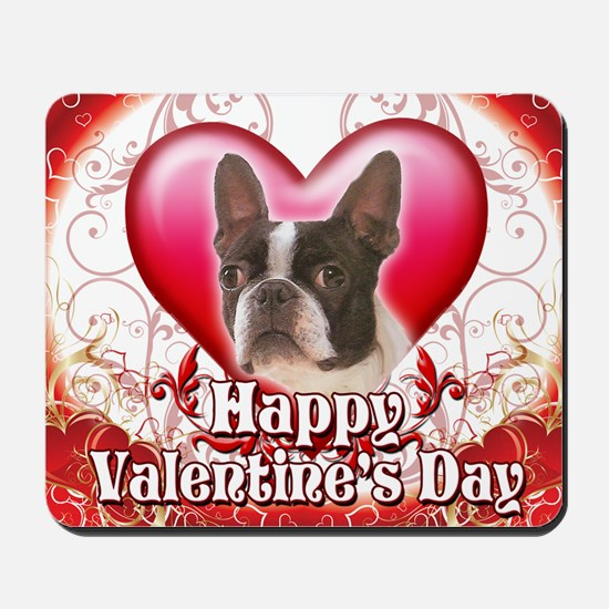 Happy Valentines Day Boston Terrier Mousepad