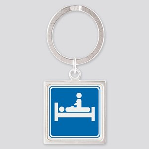 blue_lodging_oddsign1 Square Keychain