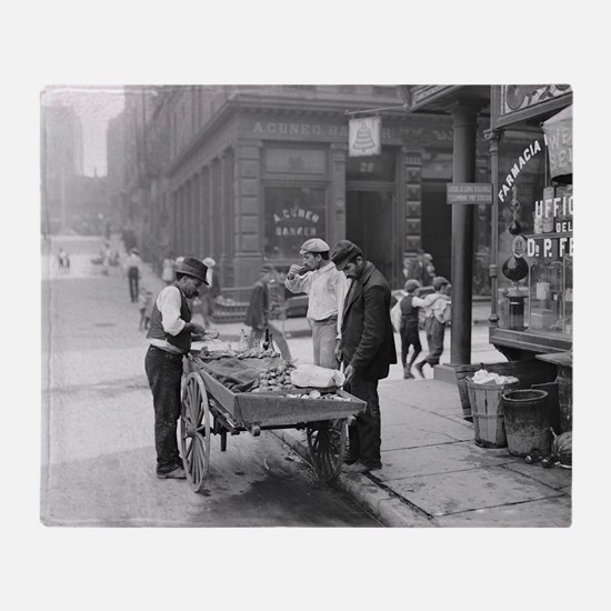 Clam Seller in Little Italy, 1906 Throw Blanket