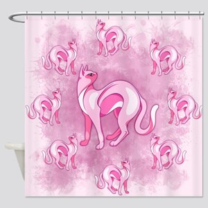 Pink Cat Mood Shower Curtain