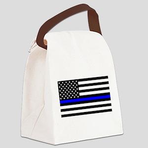 Blue Lives Matter Flag Canvas Lunch Bag