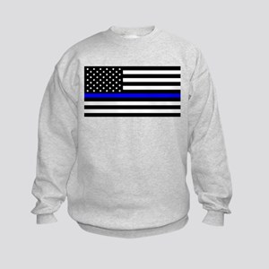 Blue Lives Matter Flag Kids Sweatshirt