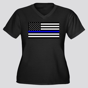 Blue Lives M Women's Plus Size V-Neck Dark T-Shirt