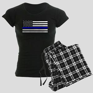 Blue Lives Matter Flag Women's Dark Pajamas
