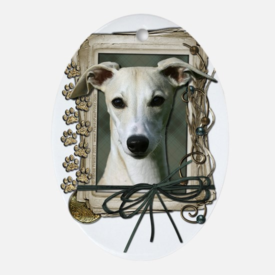 Stone_Paws_Whippet Oval Ornament