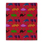Animals Purple Turtles Blue Elephant Throw Blanket