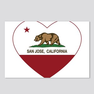 california flag san jose heart Postcards (Package