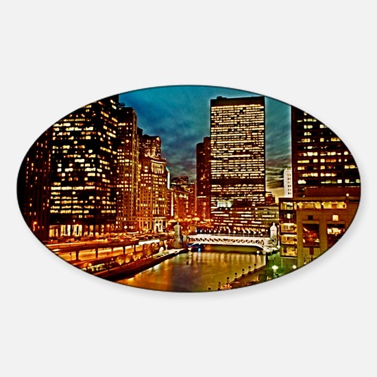Chicago River, Downtown, Nightime S Sticker (Oval)