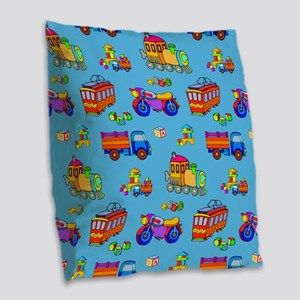 Toys Trucks & Trains Burlap Throw Pillow