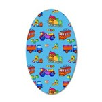 Toys Trucks & Trains 20x12 Oval Wall Decal