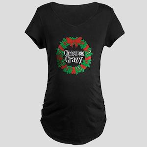 Christmas Crazy Wreath Maternity Dark T-Shirt