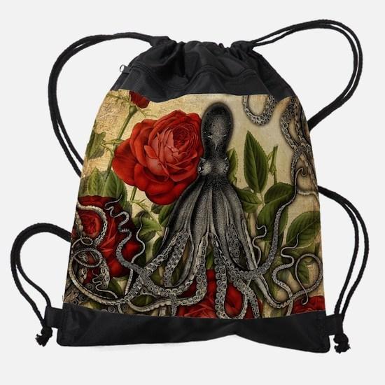 Tentacles And Roses Drawstring Bag