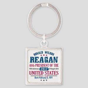 Ronald Reagan 3 Square Keychain