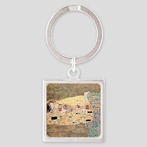 The_Kiss_Gustav_Klimt_2000sq_rot Square Keychain