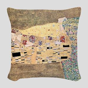 The_Kiss_Gustav_Klimt_sq_blkbo Woven Throw Pillow
