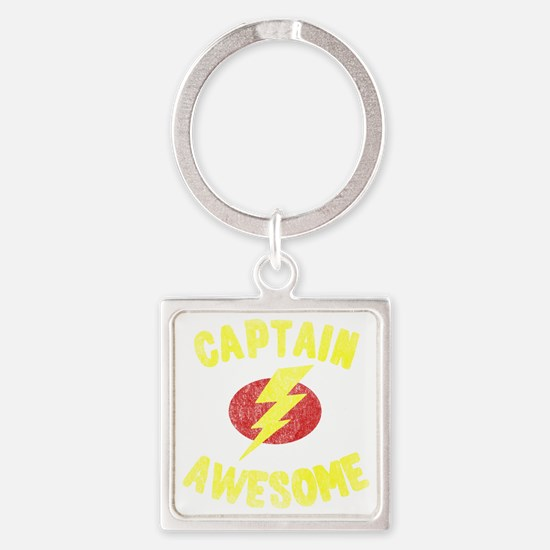 Captain Awesome Square Keychain