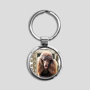 Stone_Paws_Poodle_Chocolate Round Keychain