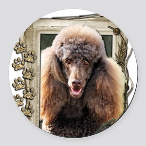 Stone_Paws_Poodle_Chocolate Round Car Magnet