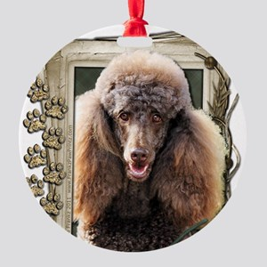 Stone_Paws_Poodle_Chocolate Round Ornament