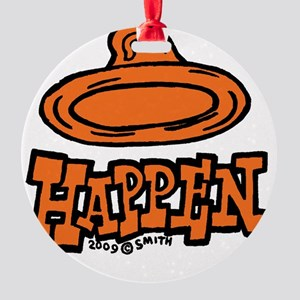 condom_happen_left_orange_clock Round Ornament