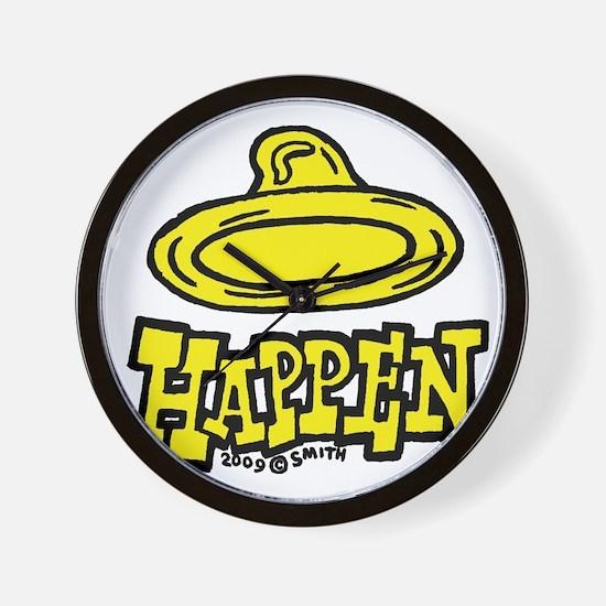 condom_happen_left_yellow Wall Clock