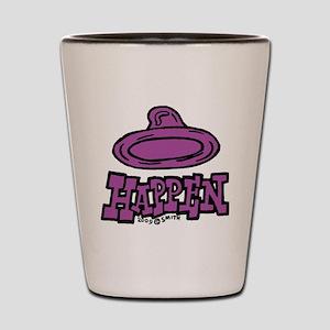 condom_happen_left_purple Shot Glass