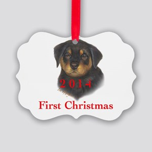 2014 First Christmas Rottie pup Picture Ornament