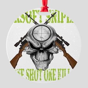 sniper skull Round Ornament