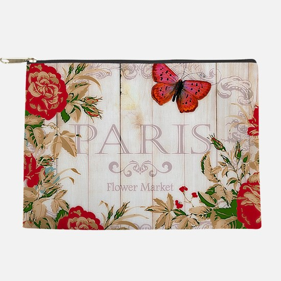 Red roses on wood Makeup Pouch