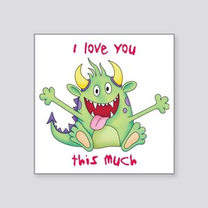"love you this much Square Sticker 3"" x 3"""