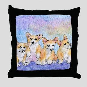 a cuddle of corgis Throw Pillow