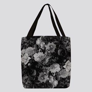 Floral Grey Roses Polyester Tote Bag