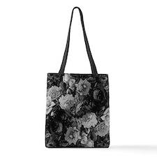 Floral Grey Roses Polyester Tote Bag
