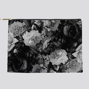 Floral Grey Roses Makeup Pouch