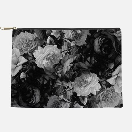 Floral Grey Roses Makeup Bag