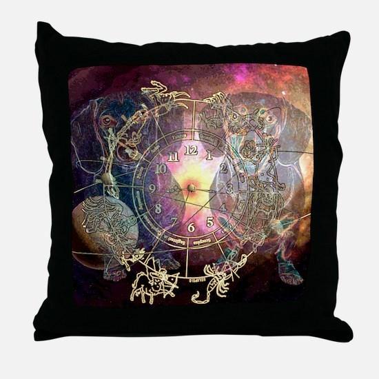dachshund zodiac 12x16 copy Throw Pillow