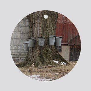 Maple Sap Time Round Ornament