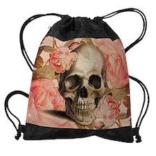 Vintage Rosa Skull Collage Drawstring Bag