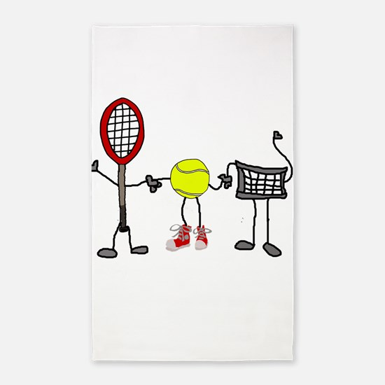 Funny Tennis Cartoon Area Rug