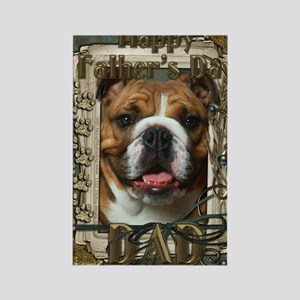 Stone_Paws_Bulldog_Dk_Dad Rectangle Magnet