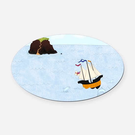 Sailing by the Castle 5 x 4 Oval Car Magnet