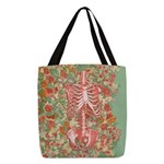 Skeleton Floral Polyester Tote Bag