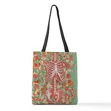 Skeleton Floral Polyester Tote Bag