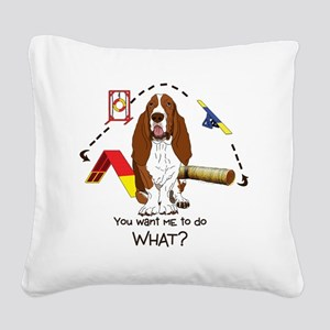 BassetDOWHAT Square Canvas Pillow