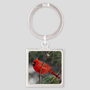 Male Cardinal 02-02-10 340 Square Keychain