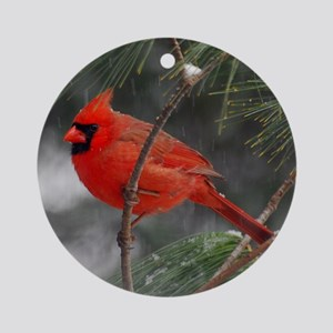 Male Cardinal 02-02-10 340 Round Ornament