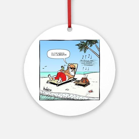 Santa on the Beach Final Round Ornament