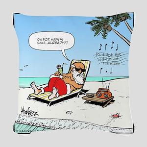 Santa on the Beach Final Woven Throw Pillow