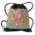 Skeleton Floral Drawstring Bag